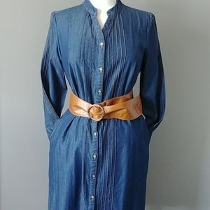 Shukr denim tunic with pintucked front and sleeves
